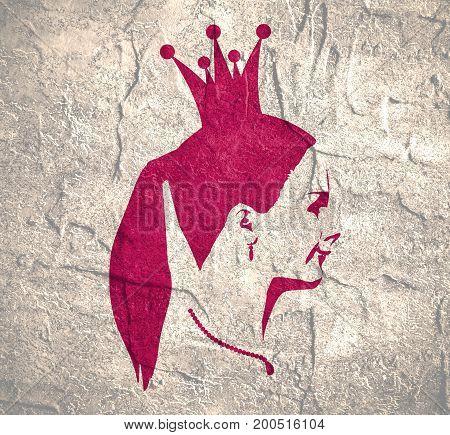 Profile view silhouette of a princess or queen. Cute adolescent girl portrait. Fashion branding emblem. Distress grunge texture