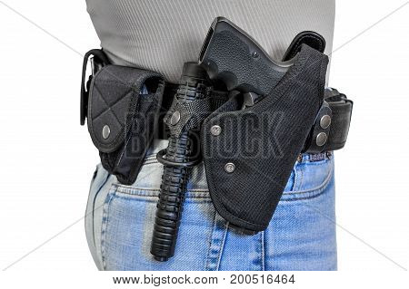 Military Tactical Belt With Semi-automatic Buckle For Connection With Cartridge Pouch, Placed On Man