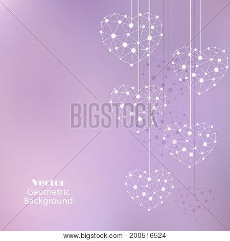 White hearts made of connected lines and dots on lilac background.