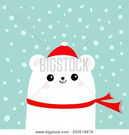 Polar white little small bear cub wearing hat and red scarf. Head face with eyes smile. Cute cartoon baby character. Arctic animal collection. Flat design Winter blue background Snow flake. Vector