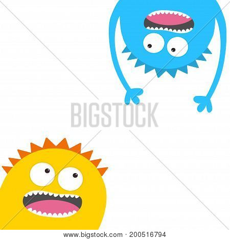 Screaming monster head silhouette set. Two eyes teeth tongue hands. Hanging upside down. Funny Cute cartoon character. Baby collection. Happy Halloween card. Flat design. White background. Vector