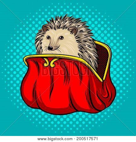 Hedgehog in a purse metaphor pop art style vector illustration. Comic book style imitation