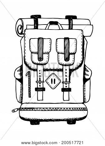 Backpack travel bag engraving vector illustration. Scratch board style imitation. Hand drawn image.