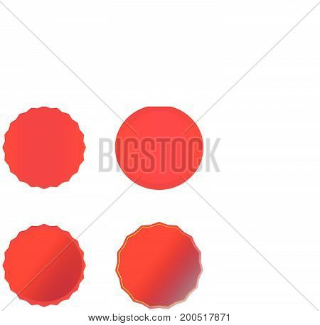 red banner on white background. red price tags, labels, stickers and ribbons.