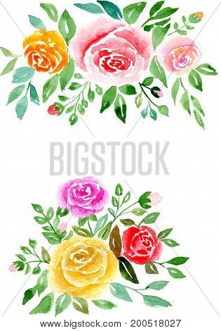 Greetings card abstract pink and tea roses with leaves isolated on white background, hand-painted watercolor illustration and paper texture