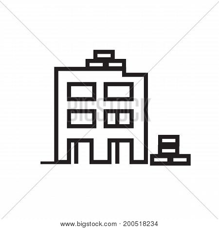 uncompleted building icon, building under construction, icon design, isolated on white background