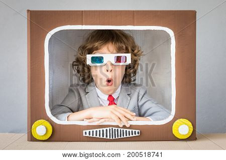 Child Playing With Cartoon Tv