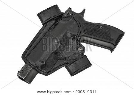 Molded Leather Holster With Handgun. Isolated