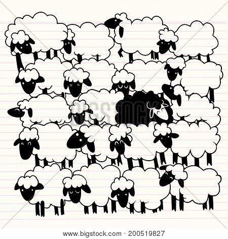 vector Of A Black Sheep Amongst White Sheep,single Black Sheep In White Sheep Group. Dissimilar Co