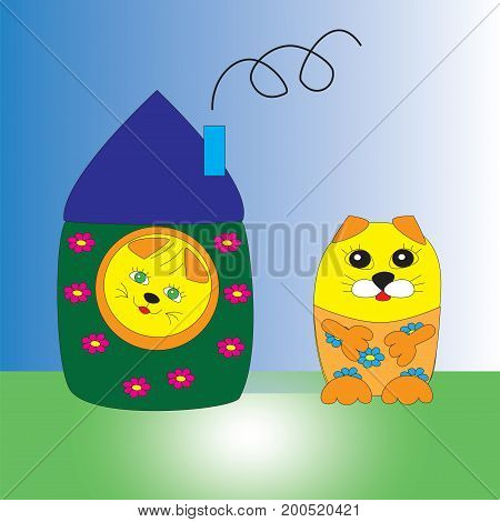 Cute cat in the house and another cat outside the house isolated gradient background.