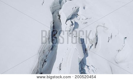 Mont blanc is the highest mountain of historic europe m altitude. Top view of white snow.