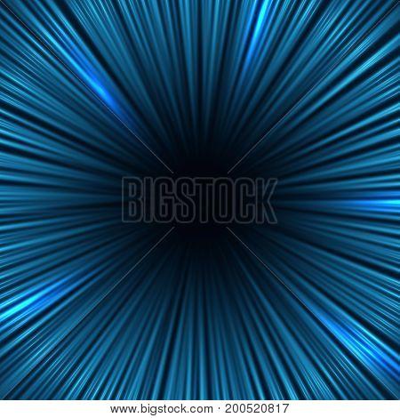 Radial blue light speed lines. Fast motion effect vector background. Radial line speed background illustration
