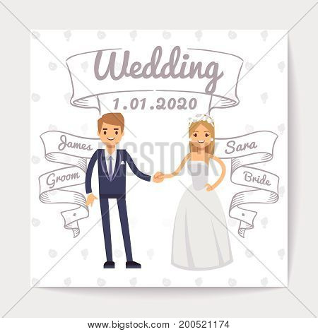 Wedding invitation card with just married young couple and them names on hand drawn ribbons vector template. Wedding invitation couple woman and man illustration