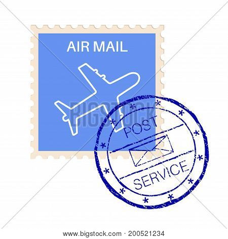 International air mail stamp with post service round impress. Vector 3d illustration isolated on white background