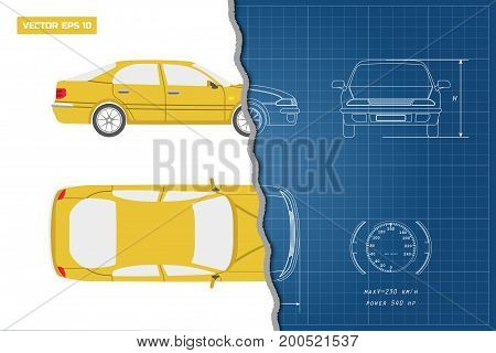 Drawing of the car on a blue background. Top, front and side view. Industrial blueprint of  vehicle. Vector illustration