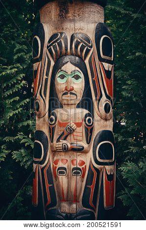 Totem Pole in Capilano park, Vancouver, Canada.