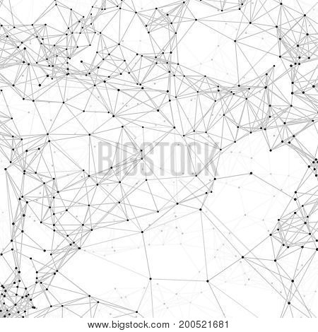 Cyber technology 3d abstract vector background with polygons and dots. Chemical node and biotechnology network illustration poster