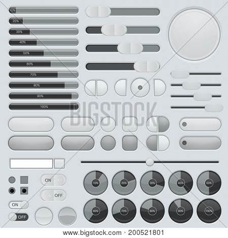 Set of interface buttons. Grey collection. Slider, progress bars. Vector illustration