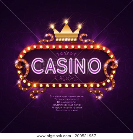 Vegas casino retro light sign for game background vector illustration. Banner billboard casino glowing