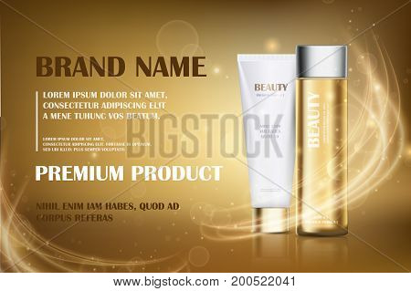 Gold essence golden translucent bottle hair oil with white cosmetic tube design on a gold shiny background with bokeh and lighting flare effect