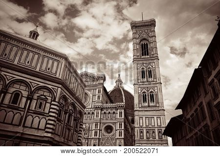 Duomo Santa Maria Del Fiore with bell tower in Florence Italy closeup view in BW