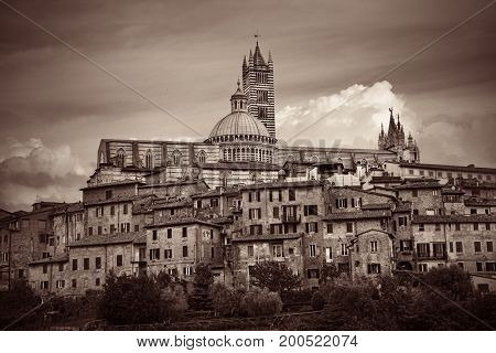 Medieval town with Siena Cathedral and skyline view in Italy