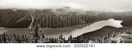 Peyto Lake panorama in winter with snow in Banff National Park, Canada