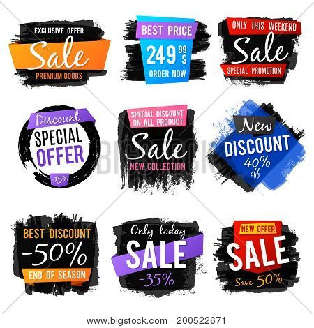 Discount and price tag, sale banners with grange brushed frames and distressed textures vector set. Discount nad promotion label sale illustration