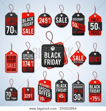 Black friday pricing tags and promotion labels with cheap prices and best offers. Retail vector sign, black friday sign sale, retail label offer promotion illustration