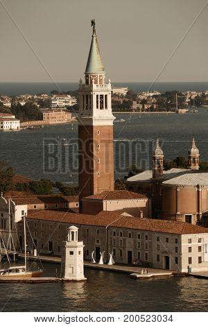 San Giorgio Maggiore church and boat in Venice, Italy.
