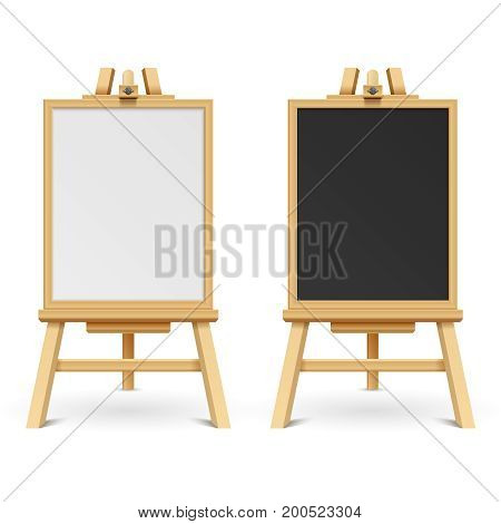 School black and white blank boards on easel vector illustration. Wooden frame board and chalk board on tripod