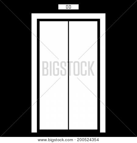 Elevator doors it is white color icon .