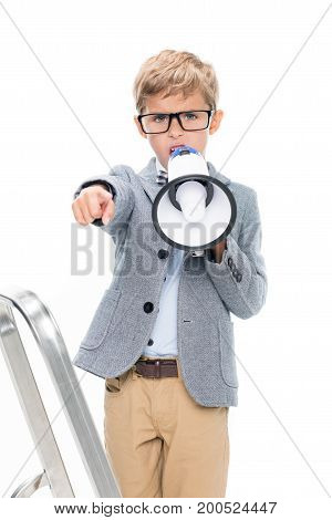 Schoolboy On Stepledder With Loudspeaker