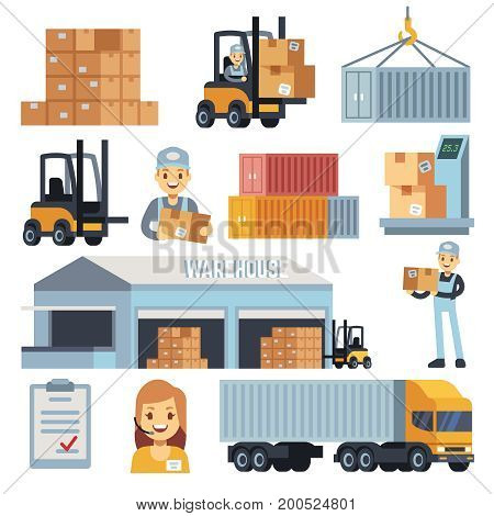 Merchandise warehouse and logistic flat vector icons with workers and equipment. Delivery and storage, warehouse and cargo box illustration