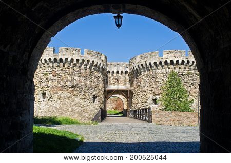 Fortress gate with a wooden bridge at Kalemegdan fortress, Belgrade, Serbia