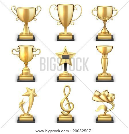 Realistic golden trophy cups and sports awards vector set. Triumph sport award and prize, winner trophy gold cup illustration