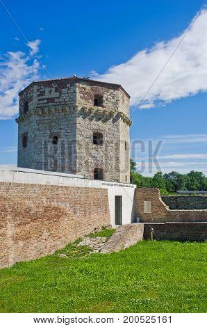 Nebojsa tower between Kalemegdan fortress and Danube river at spring in Belgrade, Serbia