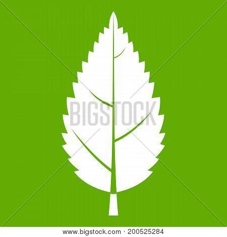 Hornbeam leaf icon white isolated on green background. Vector illustration