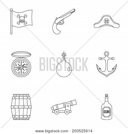 Pirates attributes icon set. Outline set of 9 pirates attributes vector icons for web isolated on white background