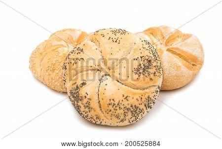 Kaiser bun baked on a white background
