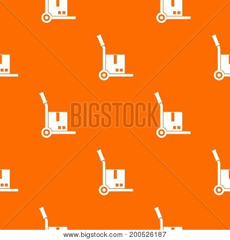 Truck with cargo pattern repeat seamless in orange color for any design. Vector geometric illustration