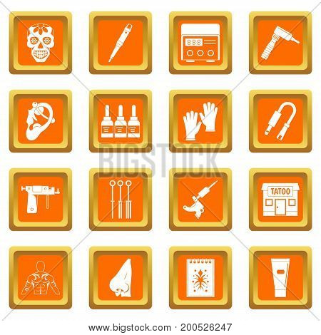 Tattoo parlor icons set in orange color isolated vector illustration for web and any design