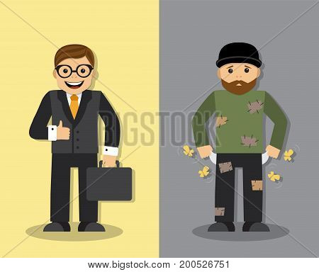 Happy successful businessman and sad homeless man with empty pockets and without money