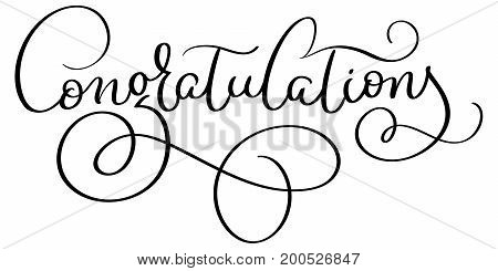 Congratulations word on white background. Hand drawn Calligraphy lettering Vector illustration EPS10.