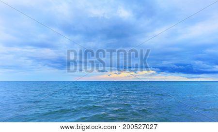 Beautiful turquoise sea and sky in twilight Hua Hin Prachuap Khiri Khan Province Thailand