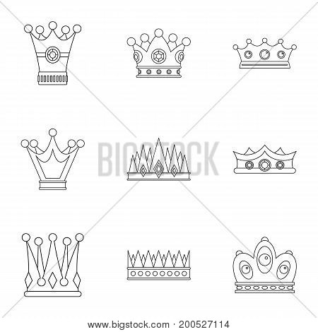 Medieval crown icon set. Outline set of 9 medieval crown vector icons for web isolated on white background