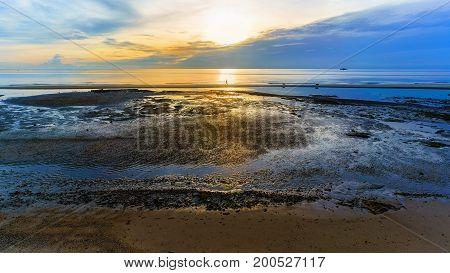 Peaceful Hua Hin beach in the morning Prachuap Khiri Khan Province Thailand