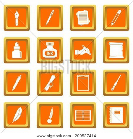 Writing icons set in orange color isolated vector illustration for web and any design