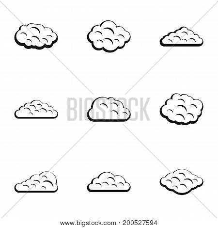 Storm cloud icon set. Simple set of 9 storm cloud vector icons for web isolated on white background