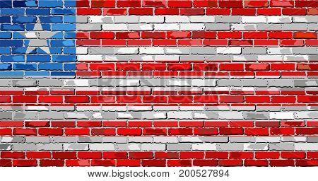 Flag of Liberia on a brick wall - Illustration,  Abstract grunge mosaic vector